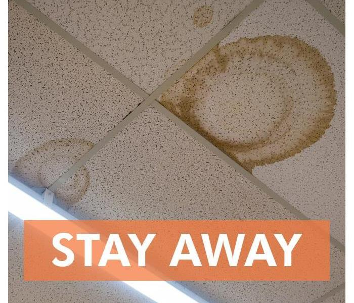 Ceiling tiles with water stain